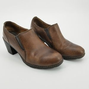 B.O.C. Brown Leather Slip On Ankle Booties